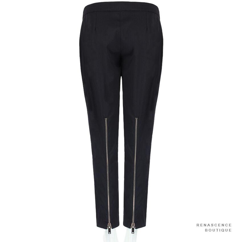 Stella McCartney nero su misura misura misura con cerniera posteriore della gamba corta pantaloni pants IT40 UK8 1e37e2