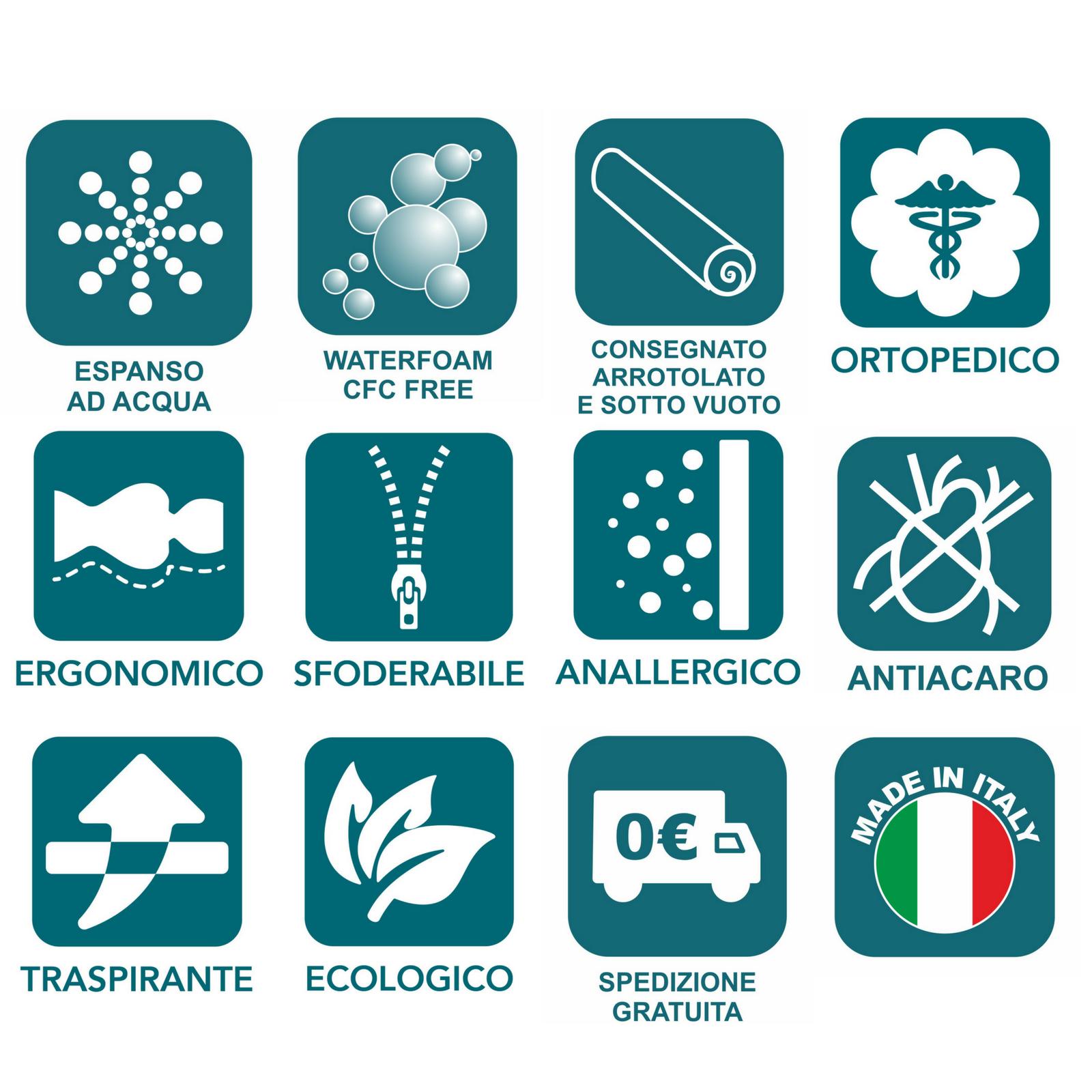 MATERASSO SINGOLO 80X185 ALTO ALTO ALTO 18 IN WATERFOAM ECOLOGICO SFODERABILE ORTOPEDICO | Exquis Art  895763