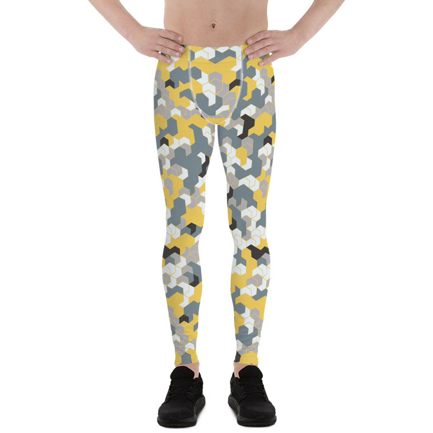Mens Camo Leggings  giallo Hexagon Camouflage Print Cold Weather Running Pants