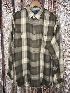 Polo-by-Ralph-Lauren-Men-039-s-Ashner-Button-Up-Long-Sleeve-Shirt-Brown-Size-XL-Top