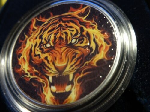 "2019 Silver Eagle Colorized Very Colorful /"" Flamed Tiger /"" ALL NEW POP 25"