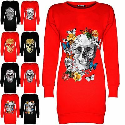 Womens Ladies Skull Printed Butterfly Fleece Long Tunic Sweatshirt Mini Dress