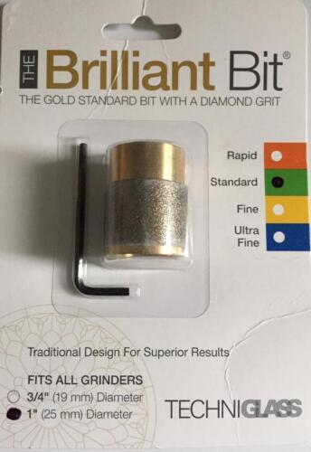 "Diamond Grit on Brass Techni Glass Brilliant Grinder Bit 1/"" Standard No Rust"