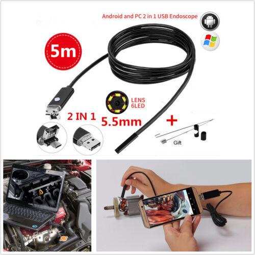 2In1 5M 5.5mm 6LED HD Endoscope Waterproof Snake Borescope USB Inspection Camera