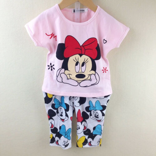 Pants Sets outfit Summer 2-7 Years Baby Girls Minnie Mouse T-Shirt Top Clothing