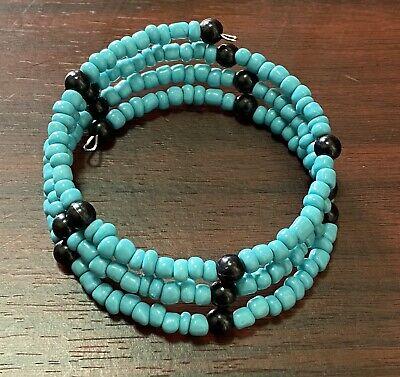 Blue and White Cuff Bracelet Stone and Glass Howlite Amazonite Wrap Bracelet Memory Wire