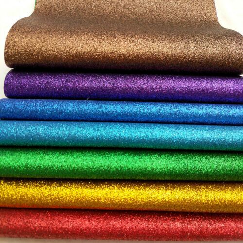 7PCS Bundle Sparkle Chunky Fine Glitter Vinyl Leather Fabric Leatherette Sheet