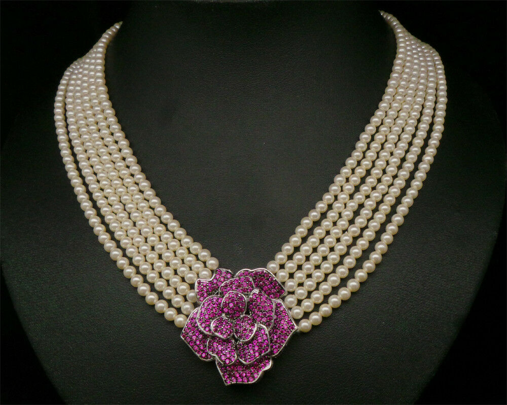 Cubic Zirconia Cultured Pearl Bids Choker Only Necklace NK WH 77