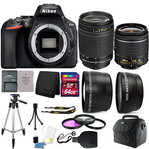 Nikon-D5600-24-2-MP-D-SLR-Camera-18-55mm-70-300mm-Lens-amp-64GB-Accessory-Kit