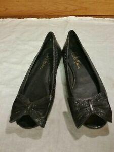 Cole-Haan-NikeAir-Women-039-s-Sz-5-5-36-Black-Peep-Toe-Flats-Leather-upper-amp-Sole