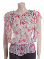 New Carbon Blouse Top Size 12 14 16 White with Pink & Green Flowers Sheer