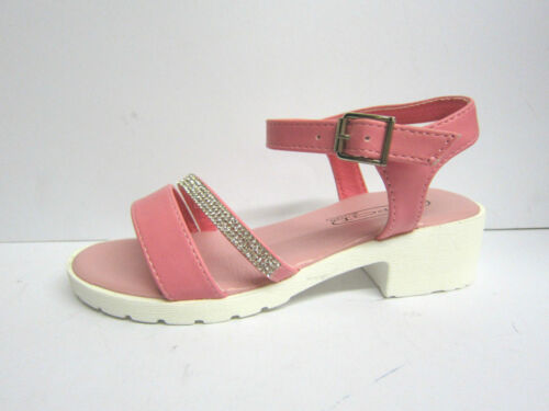 "Spot On H1071 Girls Pink Synthetic Buckle 1.5/"" Block Heel Casual Summer Sandals"