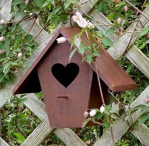Vogelhaus mit herz gartendekoration metall mit edelrost patina rusty passion ebay - Gartendekoration metall ...