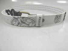 FENDER Size 38 Black Logo Antique Gold Studded White Belt Bonded Leather