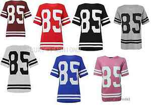 Womens-Ladies-85-Varsity-T-shirt-American-Football-Baseball-Jersey-Top-Size-8-14