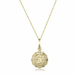 10K Solid Yellow Gold Baptism Medal Pendant Singapore Chain