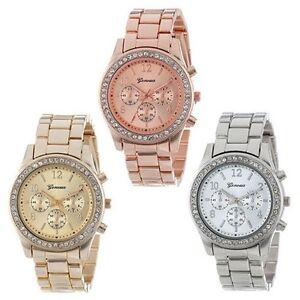 Moda-Geneva-Cuarzo-Analogico-Pulsera-de-Acero-Inoxidable-Mujer-Cristal-Reloj