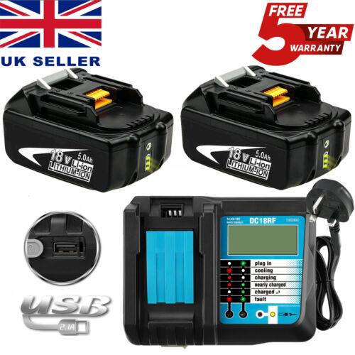18V Battery For Makita BL1860 BL1850 BL1840 BL1830+DC18RC DC18RD DC18RF Charger
