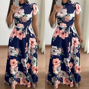 Womens-Floral-Maxi-Dresses-Short-Sleeve-High-Waist-Evening-Party-Long-Sundress