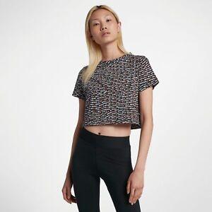 new product 01f0c 55e53 Dettagli su Nike Abbigliamento Sportivo Ovunque Logo Donna XL 2XL Bianco  Nero Top Corto