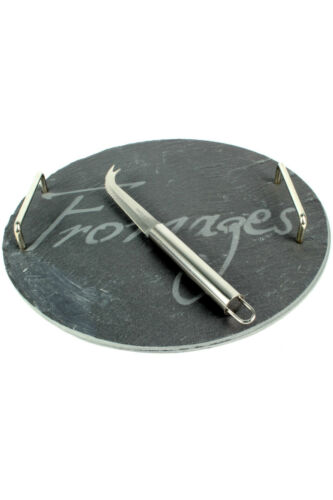 Round Slate Serving Tray with Cheese Knife Slate Aperitif Cheese Board
