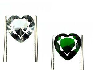 Emerald & White Sapphire 5.70 Ct Natural Gems Pair Heart Certified Valentine's