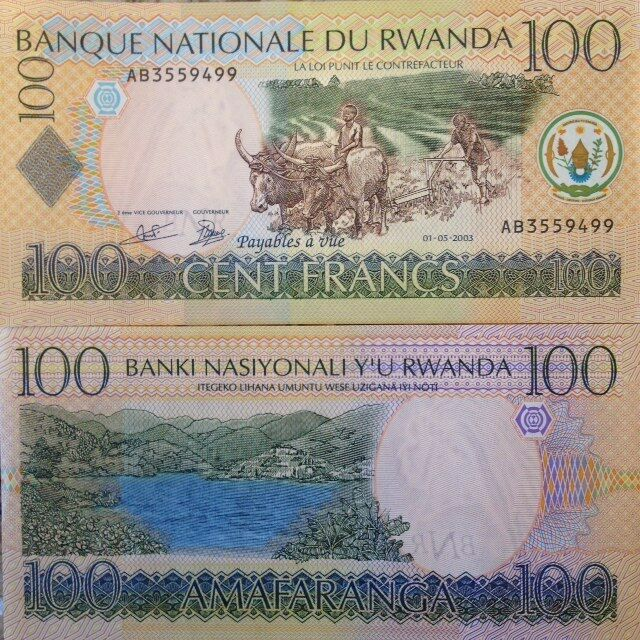 RWANDA 2003 100 FRANCS UNCIRCULATED BANKNOTE P-29 LAKE KIVU FROM A USA SELLER