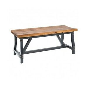 Image Is Loading Rustic Solid Wood Metal Dining Bench Counter Height