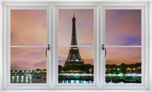 Window Landscape View EIFFEL TOWER DUSK #1 CLOSED Wall Sticker Decal Art Graphic