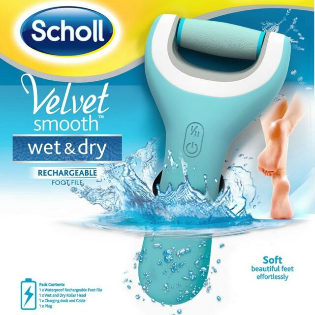 SCHOLL VELVET SMOOTH WET AND DRY RECHARGEABLE FOOT FILE CORDLESS WATERPROOF