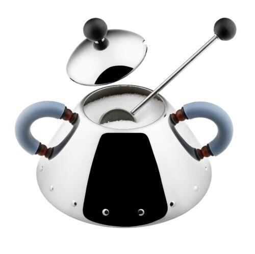 Blue Alessi Michael Graves Design Series Stainless Steel Sugar Bowl w// Spoon