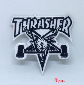 THRASHER Skate Goat Pentagram Skater White Iron Sew on Embroidered Patch #111