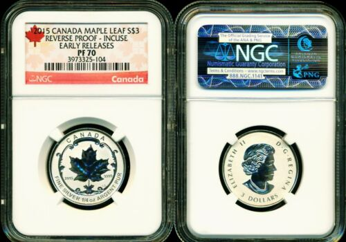 2015 $3 CANADA SILVER MAPLE LEAF INCUSE NGC PF70 REVERSE PROOF 1//4 OZ .9999