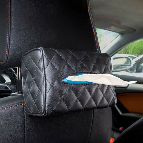 BL/_ Car Faux Leather Sun Viper Back Seat Hanging Tissue Box Paper Holder Contain