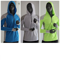Mens Long Sleeve Fishing Sun Shirt Quick Dry Breathable Hooded Top Sunproof