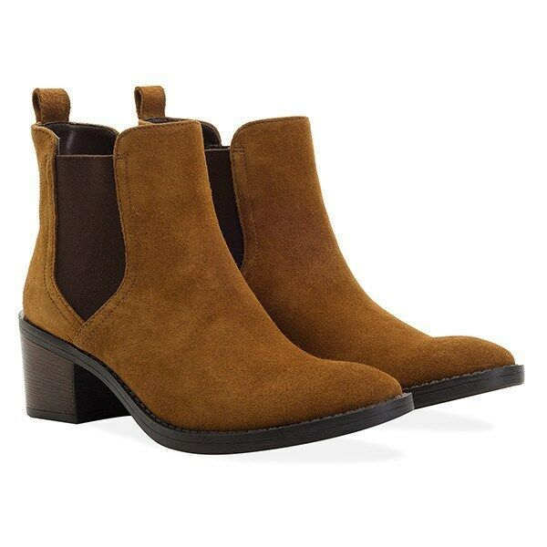 Redfoot Ladies Victoria Suede Tan Chelsea Slip On Boots UK 4/Euro 37