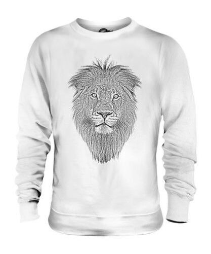LION FACE SKETCH UNISEX PRINTED SWEATER TOP BIG CAT KING OF THE ANIMALS