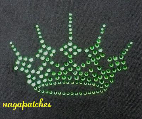 Pattern PrintThermo Adhesive Transfer Rhinestone Crown Royal Green