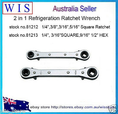"2 in 1 Refrigation Ratchet Wrench,1/4"", 3/16""SQU. 9/16"" 1/2"" HEX & 4 in 1 Square"