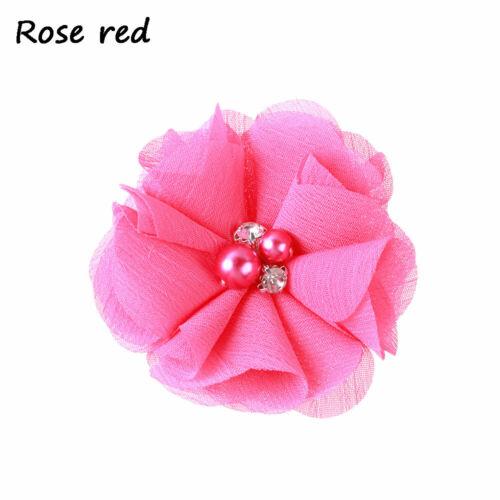 chiffon schleifen kopfbedeckungen pearl baby haarnadel blume haarspange rosa