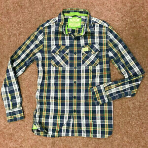 Superdry-Mens-Checked-Shirt-Size-L-fits-M-Navy-Lime-VGC-Lumberjack-Style