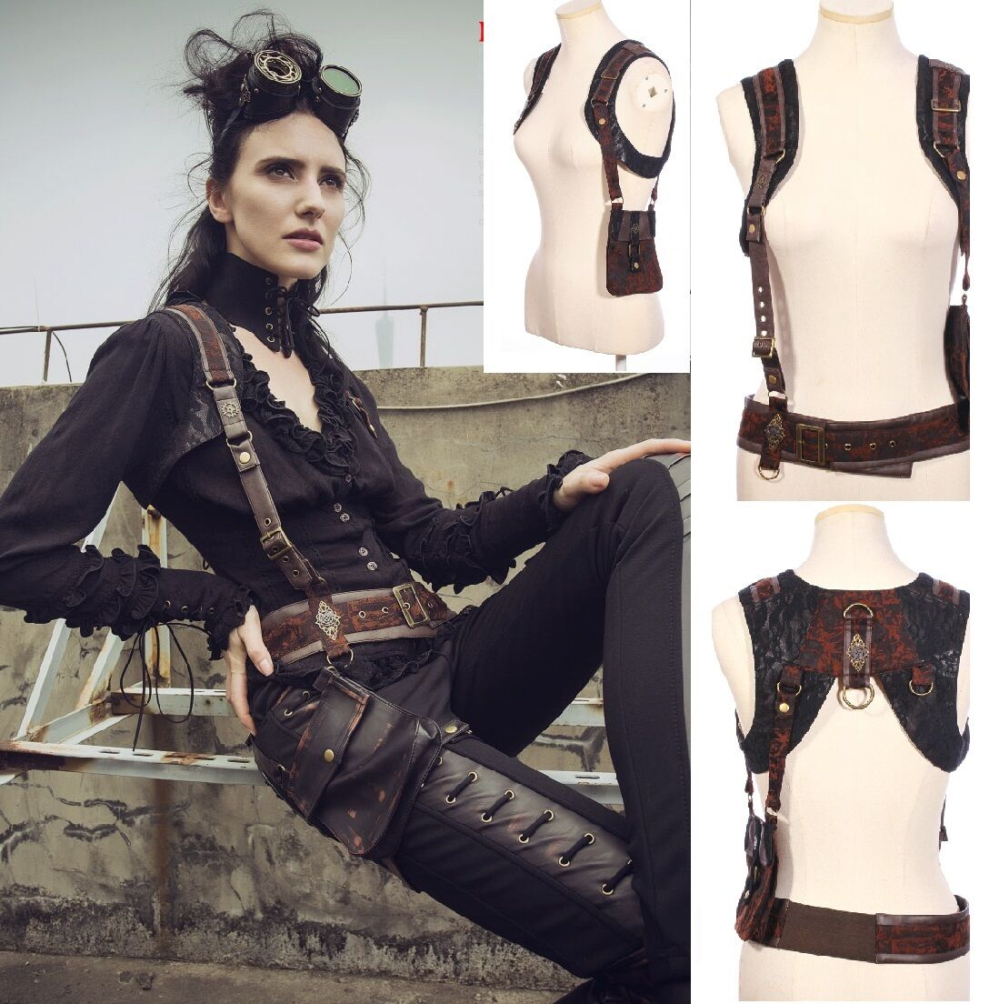 RQ-BL Steampunk 5Way SET Gürtel Weste Tasche Top LARP Harness Kunst-Leder SP161