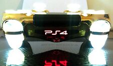 PS4 Dualshock 4 Custom Controller-Gold Chrome+Clear White-White LED Illumination