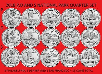 2018 P D /& S America the Beautiful Quarter 15 Coin Set Uncirculated *ON HAND*