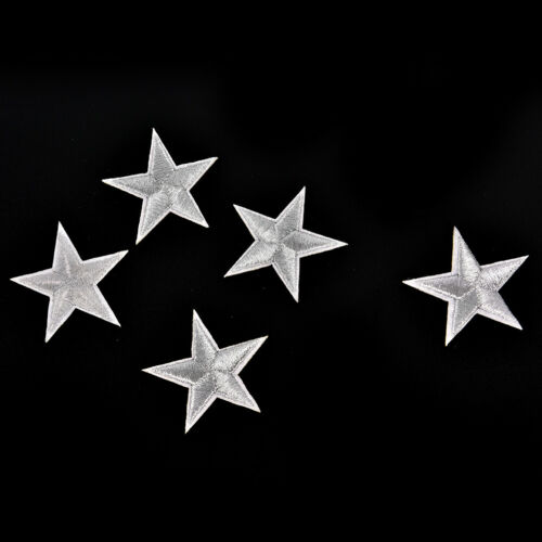 10PCs Silver Stars Embroidered Badges Iron On Patches Motif Applique Stickers Wd
