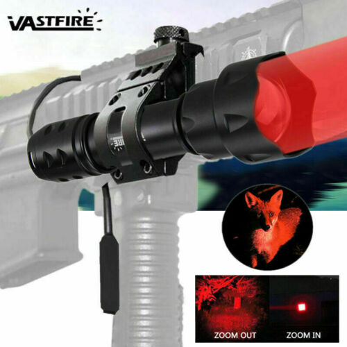 XPE Red or Green LED Flashlight Zoom Focus 1 Mode Tactical Torch Offset Mount