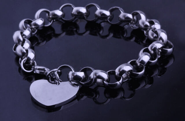 8mm Rolo Chain Stainless Steel women bracelet with heart charms popular