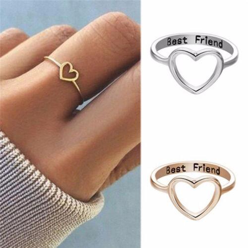 Best Friends Heart Fingers Rings Knuckle Rings Friend Love Jewelry Gifts Unisex