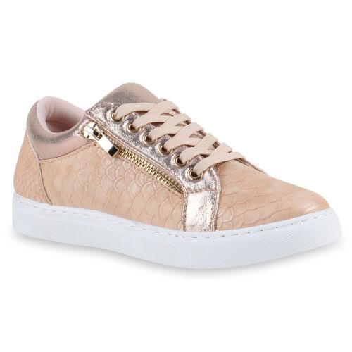 Damen Sneakers Zipper Kroko-Optik Metallic Sportschuhe Schnürer 817155 Schuhe