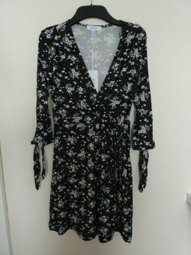 Noir Nouveau bleu vanille polka Floral Cravate Manche Wrap Robe